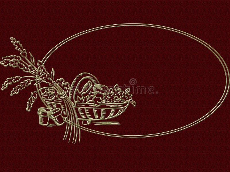 Carte avec une belle conception d'or illustration stock