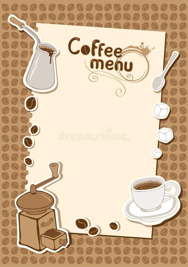 Carte avec une cuvette de rectifieuse de café illustration de vecteur