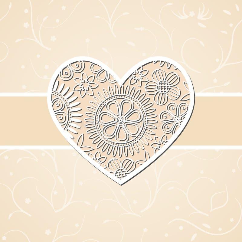 Carte beige légère de mariage avec le coeur floral de coupe illustration libre de droits