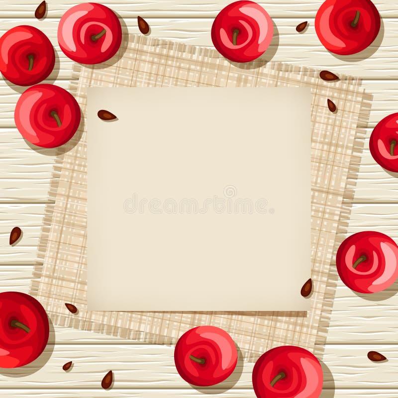 Carte beige sur un fond en bois avec les pommes rouges et renvoyer Illustration de vecteur illustration de vecteur