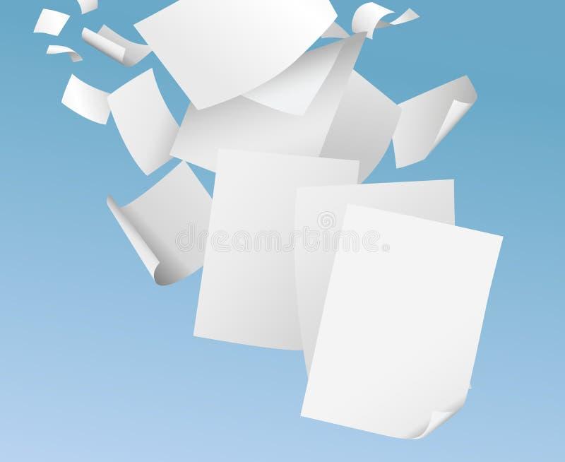 Carte in bianco volanti sull'illustrazione di vettore del cielo blu - lavoro di ufficio, documenti dell'ufficio del concetto dell illustrazione di stock