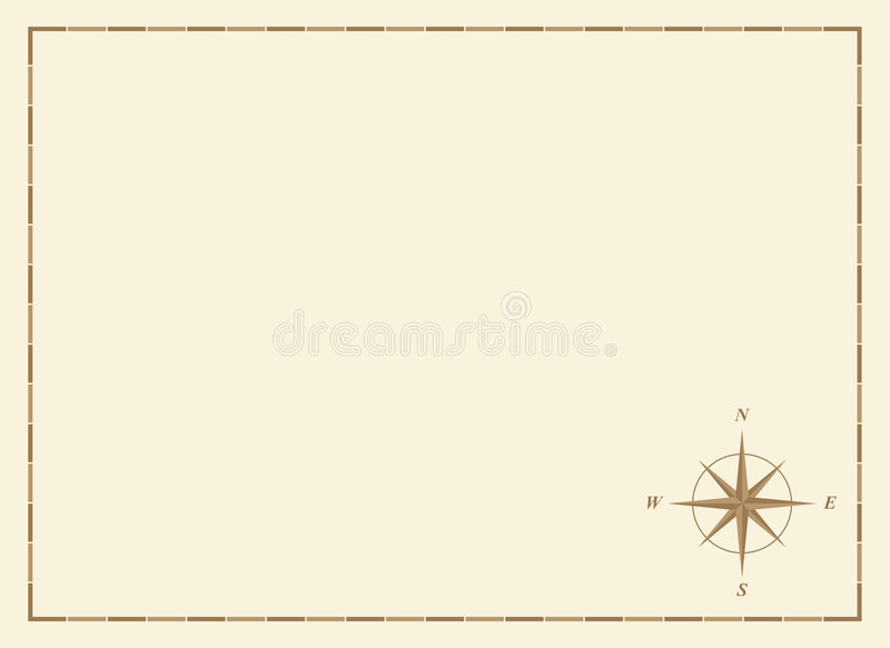 Carte blanc avec la rose de compas illustration stock