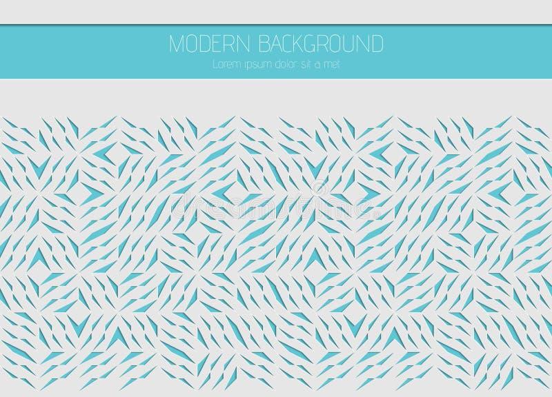 Carte blanche décorative pour la coupure Lignes bleues abstraites modèle de tessons Coupe de laser Illustration de dessin géométr illustration libre de droits