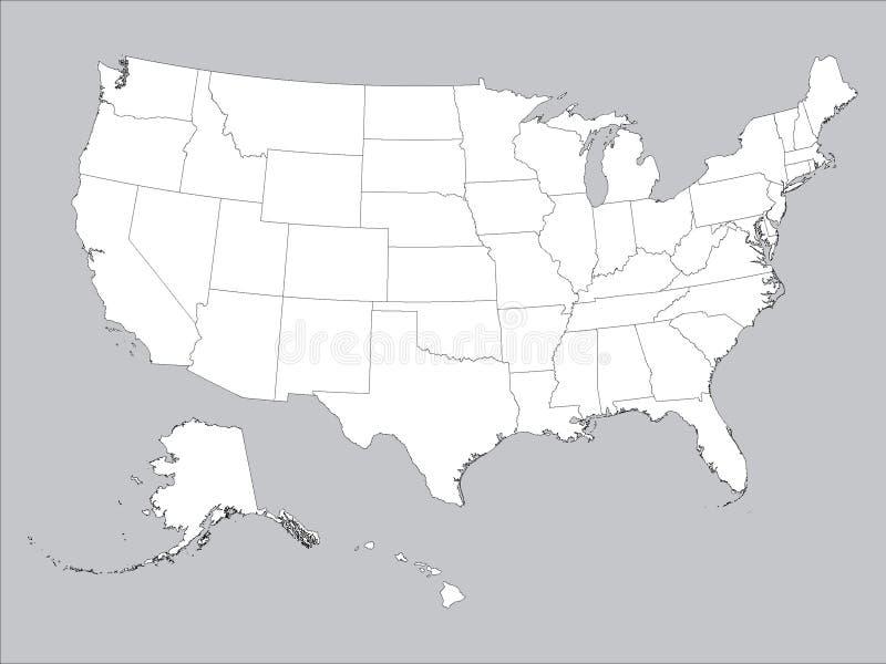 Carte blanche d'États fédéraux des Etats-Unis d'Amérique Gray Background illustration de vecteur