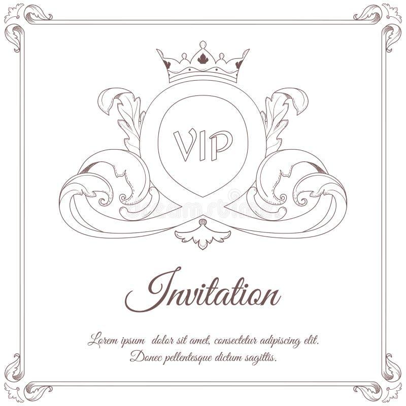 Carte blanche d'invitation de vintage, dans l'ornement feuillu central dans le style victorien pour la conception et l'impression illustration stock