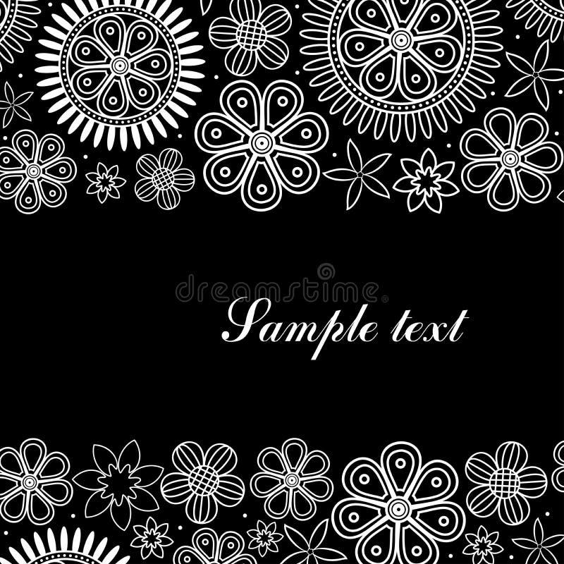 Carte blanche et noire avec les cadres floraux horizontaux illustration stock