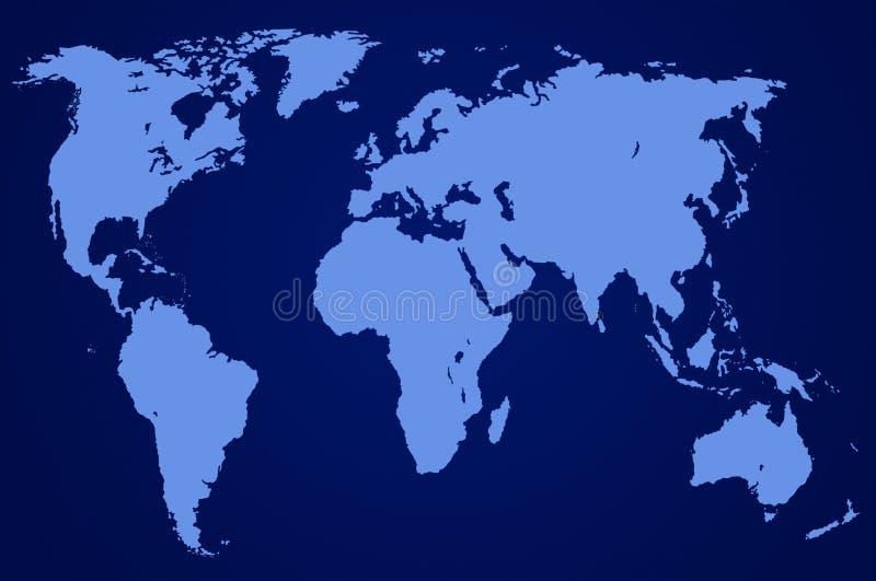 Carte bleu-foncé du monde, d'isolement illustration de vecteur