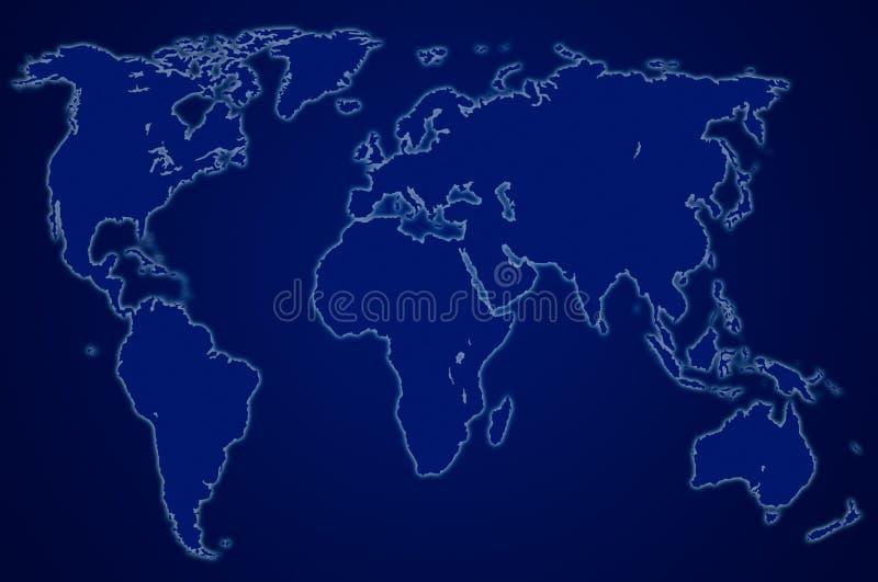 Carte bleu-foncé du monde, d'isolement illustration stock