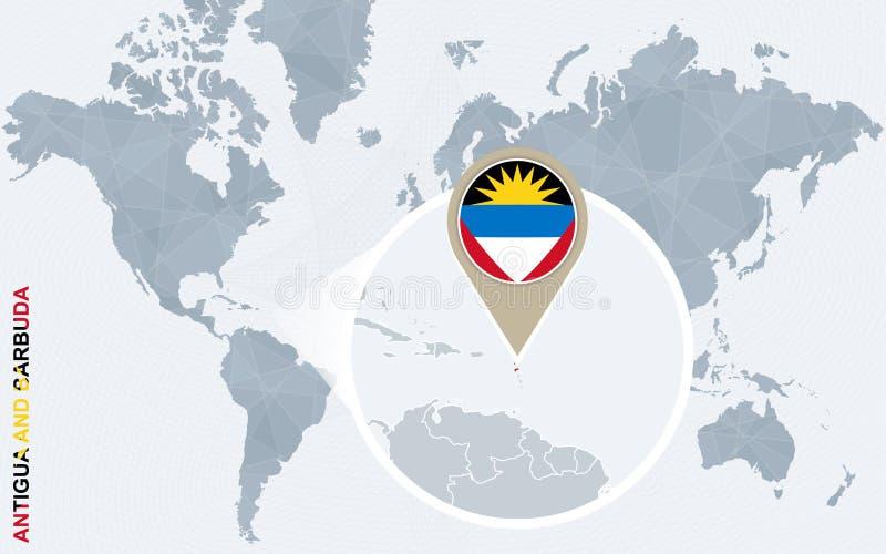 Carte bleue abstraite du monde avec l'Antigua-et-Barbuda magnifié illustration libre de droits