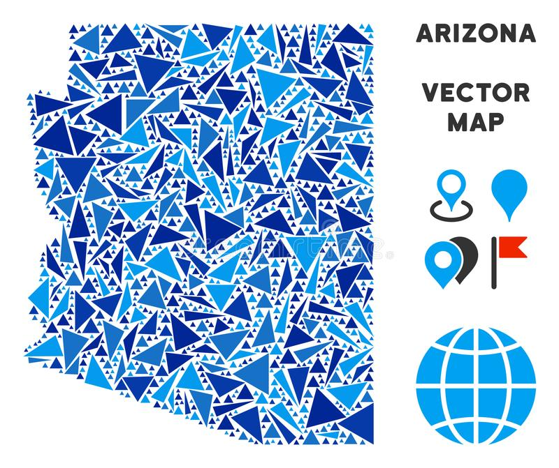Carte bleue d'état de l'Arizona de triangle illustration libre de droits