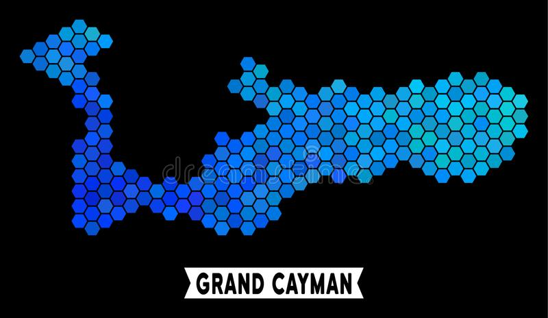 Carte bleue d'île de Grand Cayman d'hexagone illustration stock