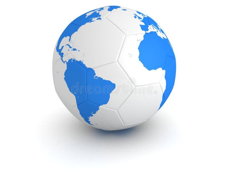 Carte bleue de globe du monde sur la bille de football blanche illustration de vecteur
