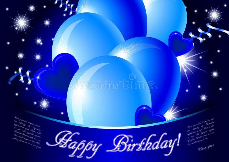 Carte bleue de joyeux anniversaire illustration stock