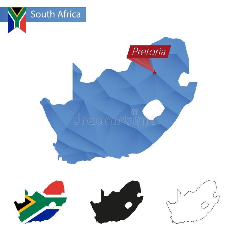 Carte bleue de l'Afrique du Sud basse poly avec la capitale Pretoria illustration libre de droits