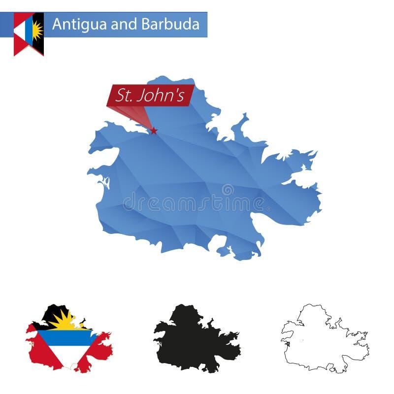 Carte bleue de l'Antigua-et-Barbuda basse poly avec St John capital illustration libre de droits