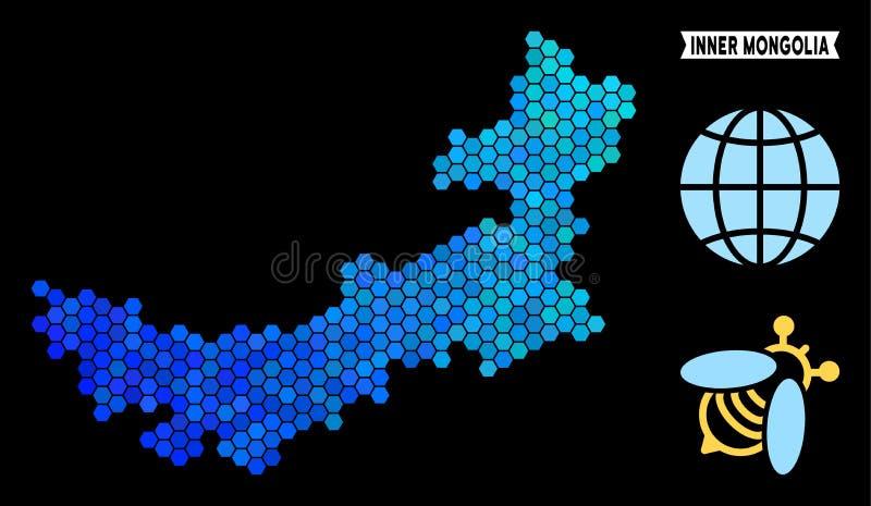 Carte bleue de l'Inner Mongolia de Chinois d'hexagone illustration stock