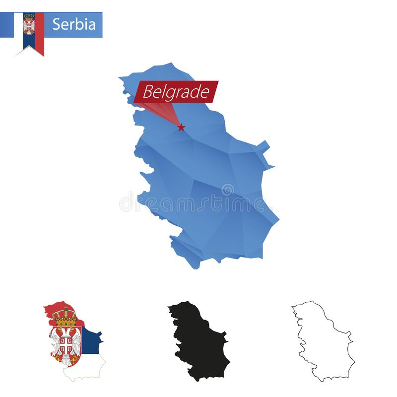 Carte bleue de la Serbie basse poly avec la capitale Belgrade illustration libre de droits