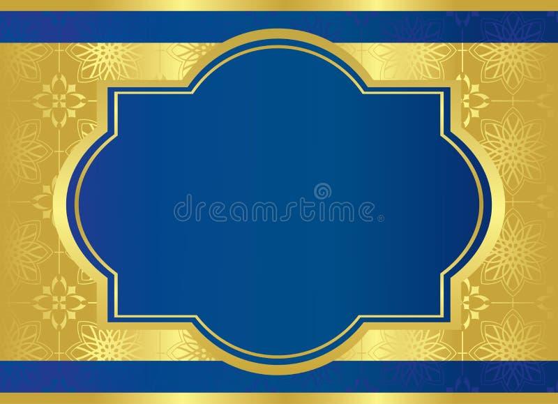 Carte bleue de vecteur avec la trame centrale d'or illustration libre de droits
