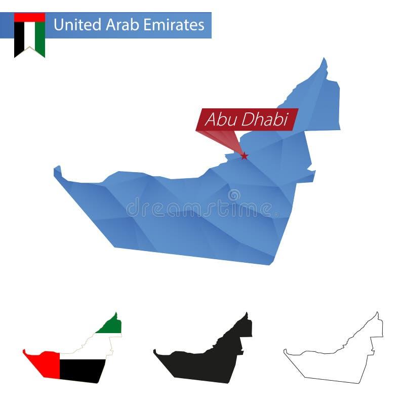 Carte bleue des Emirats Arabes Unis basse poly avec le capital Abu Dhabi illustration de vecteur