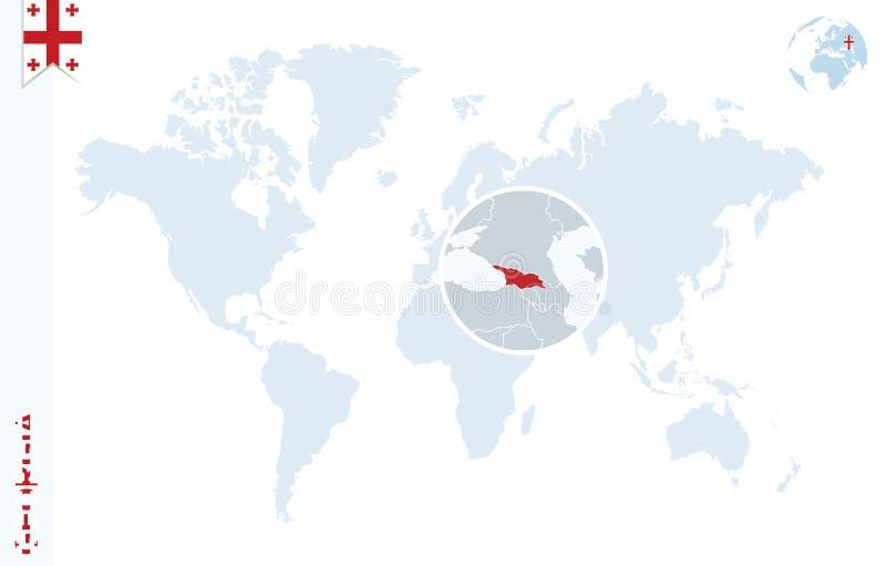 Carte bleue du monde avec l'agrandissement sur la Géorgie illustration libre de droits