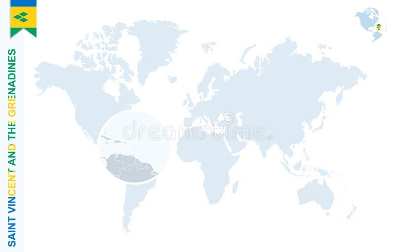 Carte bleue du monde avec l'agrandissement sur Saint-Vincent-et-les-Grenadines illustration de vecteur