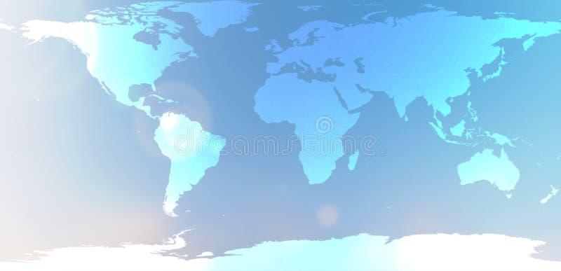Carte bleue du monde dans l'abrégé sur brouillé ciel de fond photo libre de droits