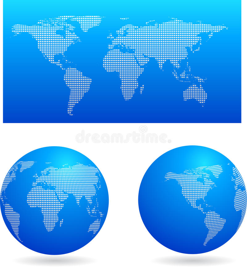 Carte bleue et deux globes illustration stock