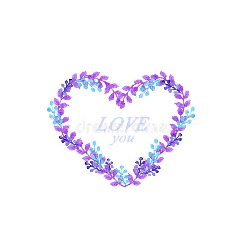 Carte bleue et violette d'aquarelle de coeur de cadre illustration stock