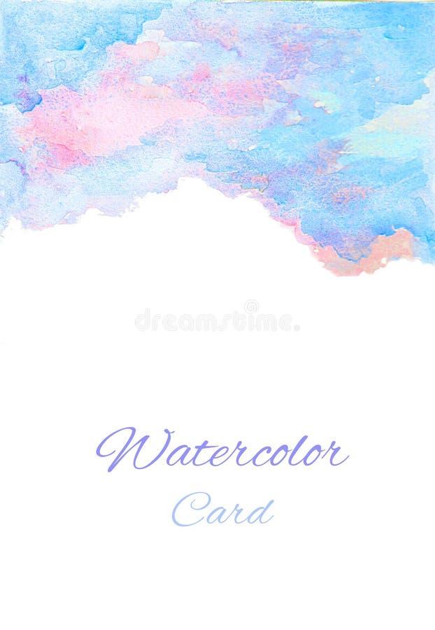 Carte bleue rose d'aquarelle avec le fond blanc illustration stock