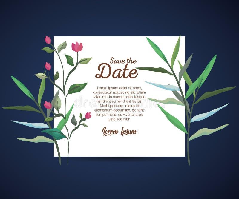 Carte botanique avec des fleurs et des feuilles de nature illustration stock
