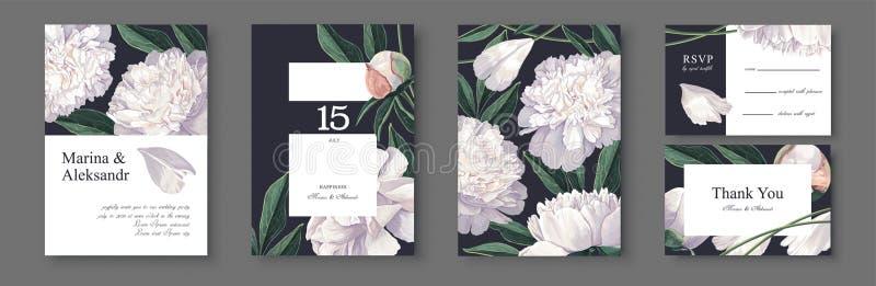 Carte botanique d'invitation de mariage Conception de calibre avec les fleurs et les feuilles blanches de pivoines illustration libre de droits