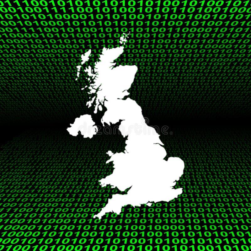 Carte BRITANNIQUE au-dessus de code binaire illustration libre de droits
