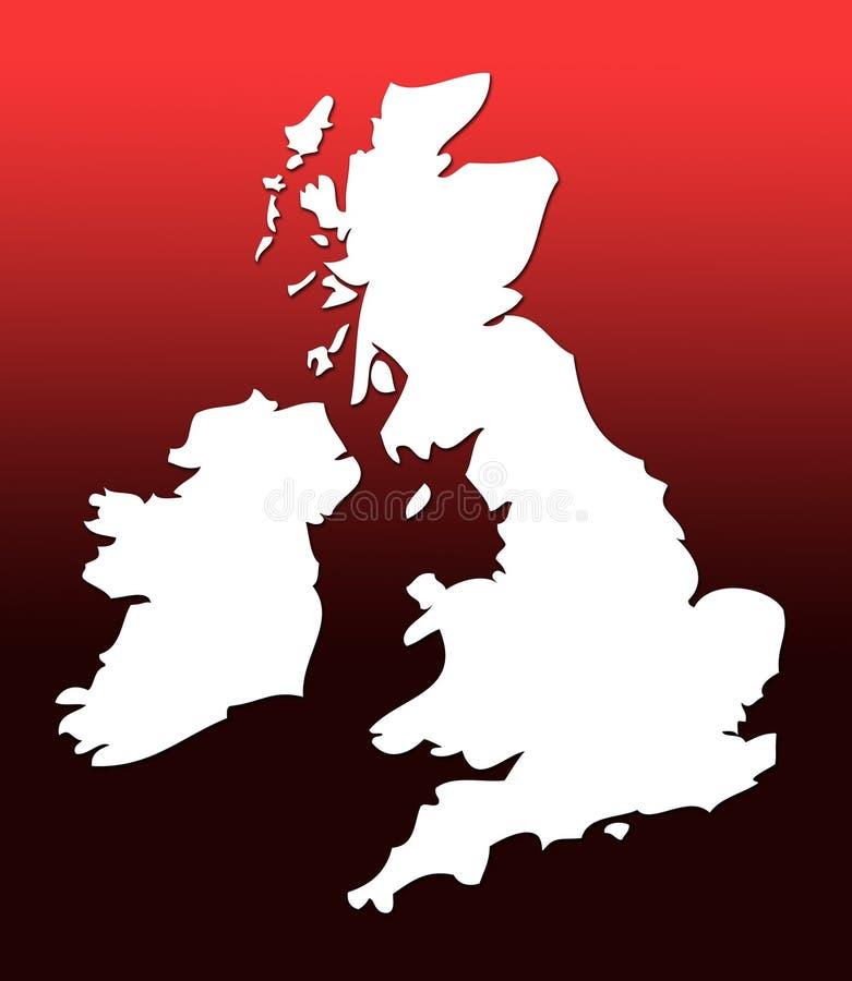 Carte BRITANNIQUE au-dessus du rouge illustration de vecteur
