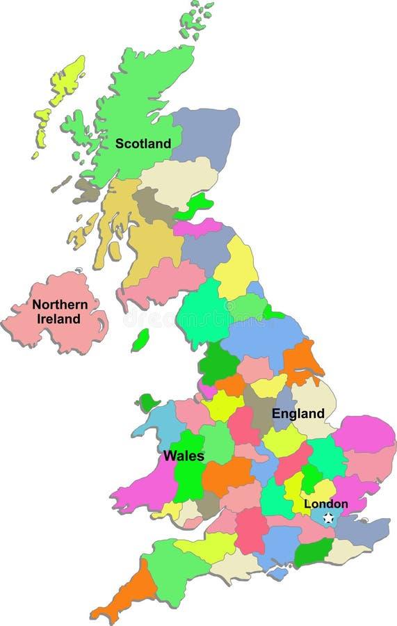 Carte BRITANNIQUE sur un fond blanc illustration libre de droits