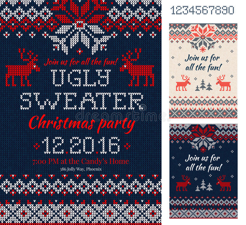 Carte brutte della festa di Natale del maglione Reticolo lavorato a maglia scandinavia illustrazione di stock