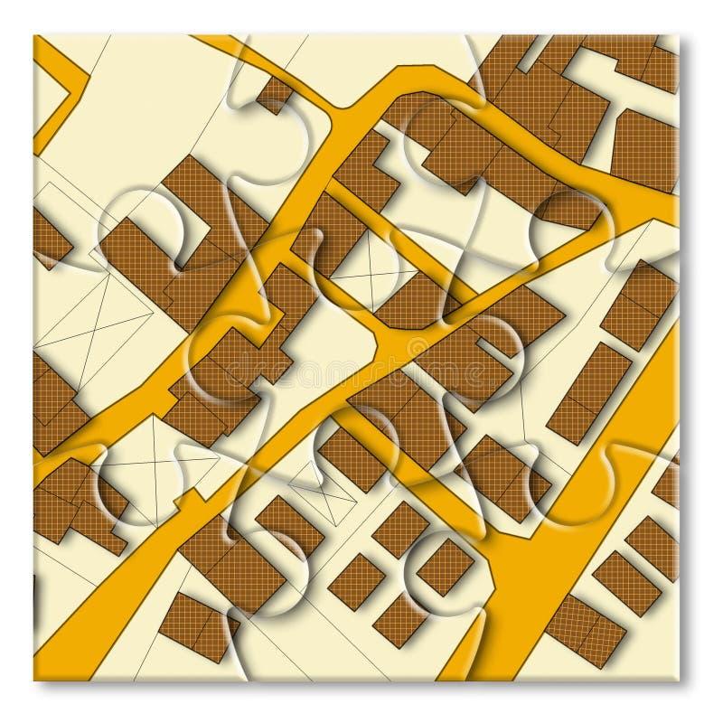 Carte cadastrale imaginaire de territoire avec les bâtiments et les routes - image de concept dans la forme de puzzle denteux image stock
