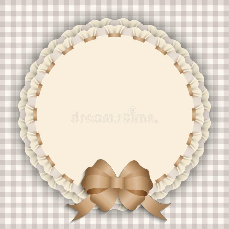 Carte cadeaux avec la dentelle, ruban, ruban en soie, endroit pour le texte illustration stock
