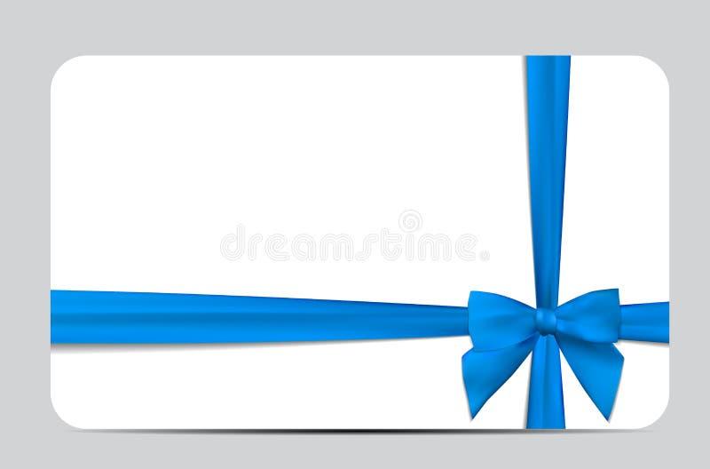 Carte cadeaux con Blue Ribbon y el arco Ilustración del vector stock de ilustración