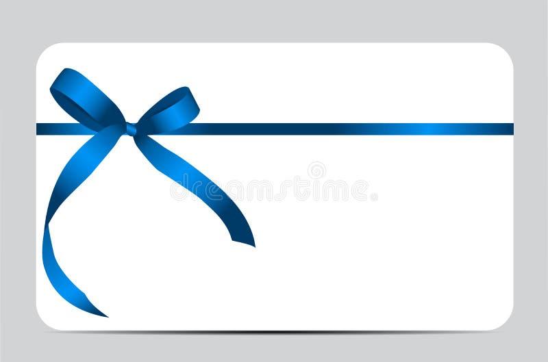 Carte cadeaux con Blue Ribbon y el arco Vector ilustración del vector