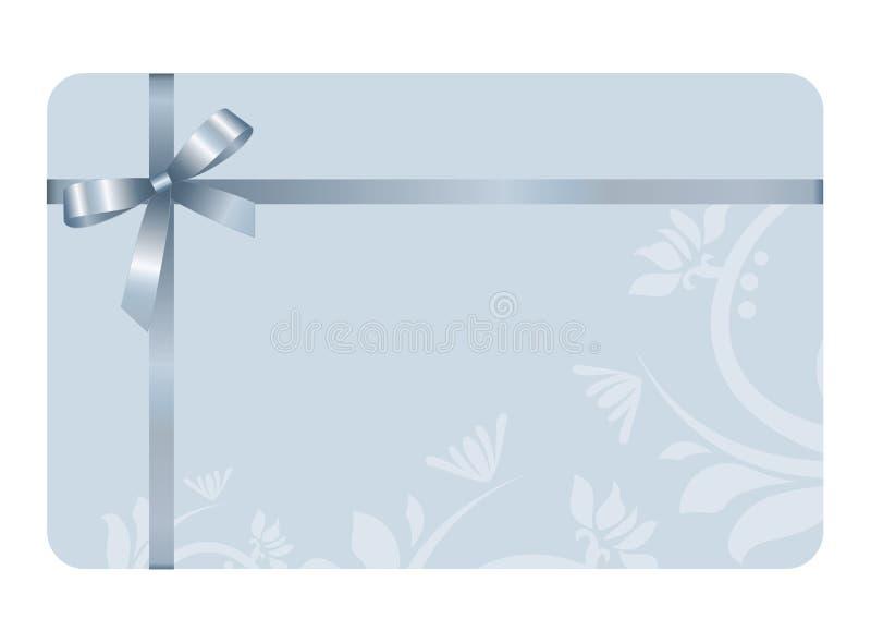 Carte cadeaux con Blue Ribbon y un arco ilustración del vector