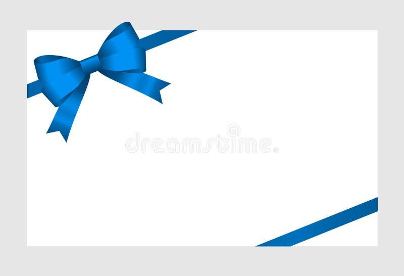 Carte cadeaux con Blue Ribbon y un arco en el fondo blanco ilustración del vector