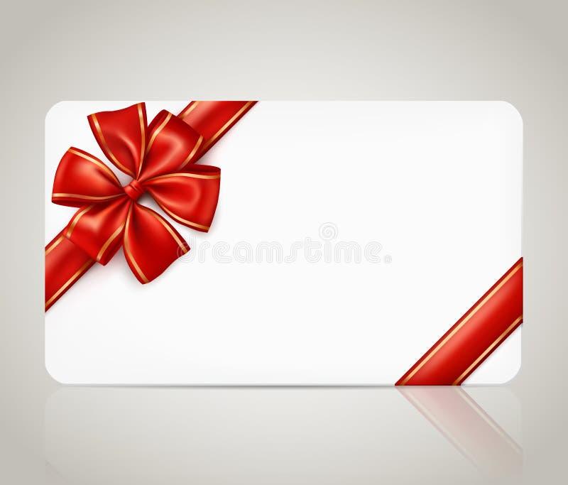 Carte cadeaux con el arco rojo de la cinta stock de ilustración