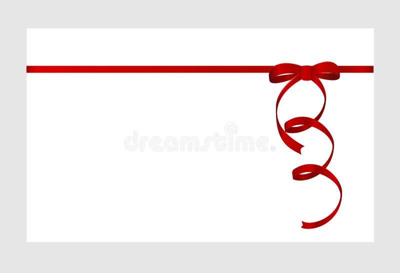 Carte cadeaux con la cinta roja y un arco aislado en el fondo blanco stock de ilustración