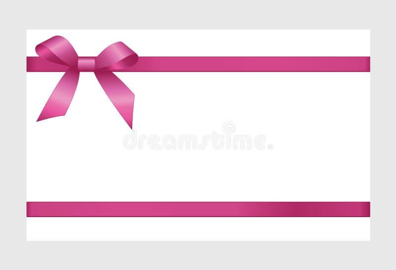 Carte cadeaux con la cinta rosada y un arco stock de ilustración
