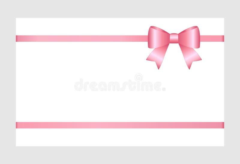 Carte cadeaux con la cinta rosada y un arco aislado en el fondo blanco stock de ilustración