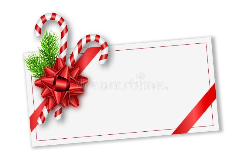 Carte cadeaux de la Navidad del día de fiesta con el arco, las ramas de árbol de abeto y los bastones de caramelo rojos Plantilla libre illustration