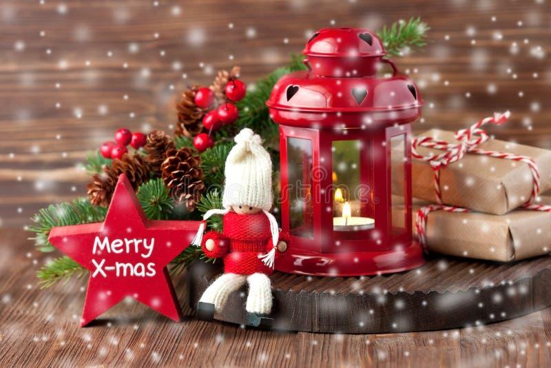 Carte cadeaux de Noël avec la composition en vacances image libre de droits