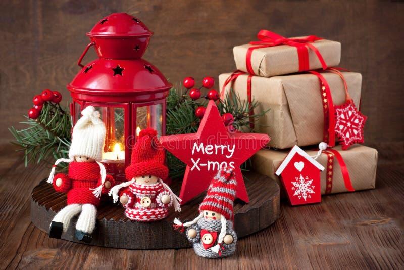 Carte cadeaux de Noël avec la composition en vacances photos stock
