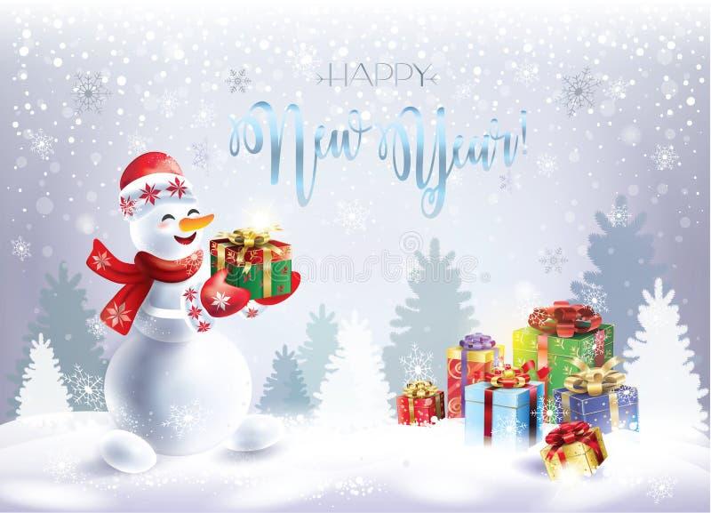 Carte cadeaux de Noël de vacances d'hiver de bonhomme de neige illustration libre de droits