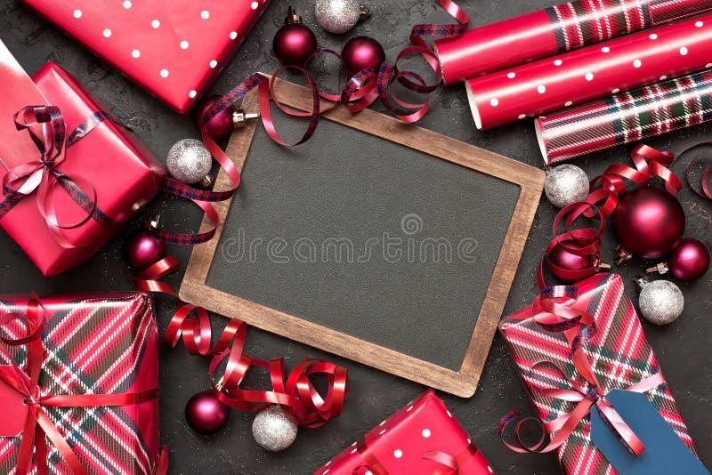 Carte cadeaux de No?l avec la composition en vacances photo stock